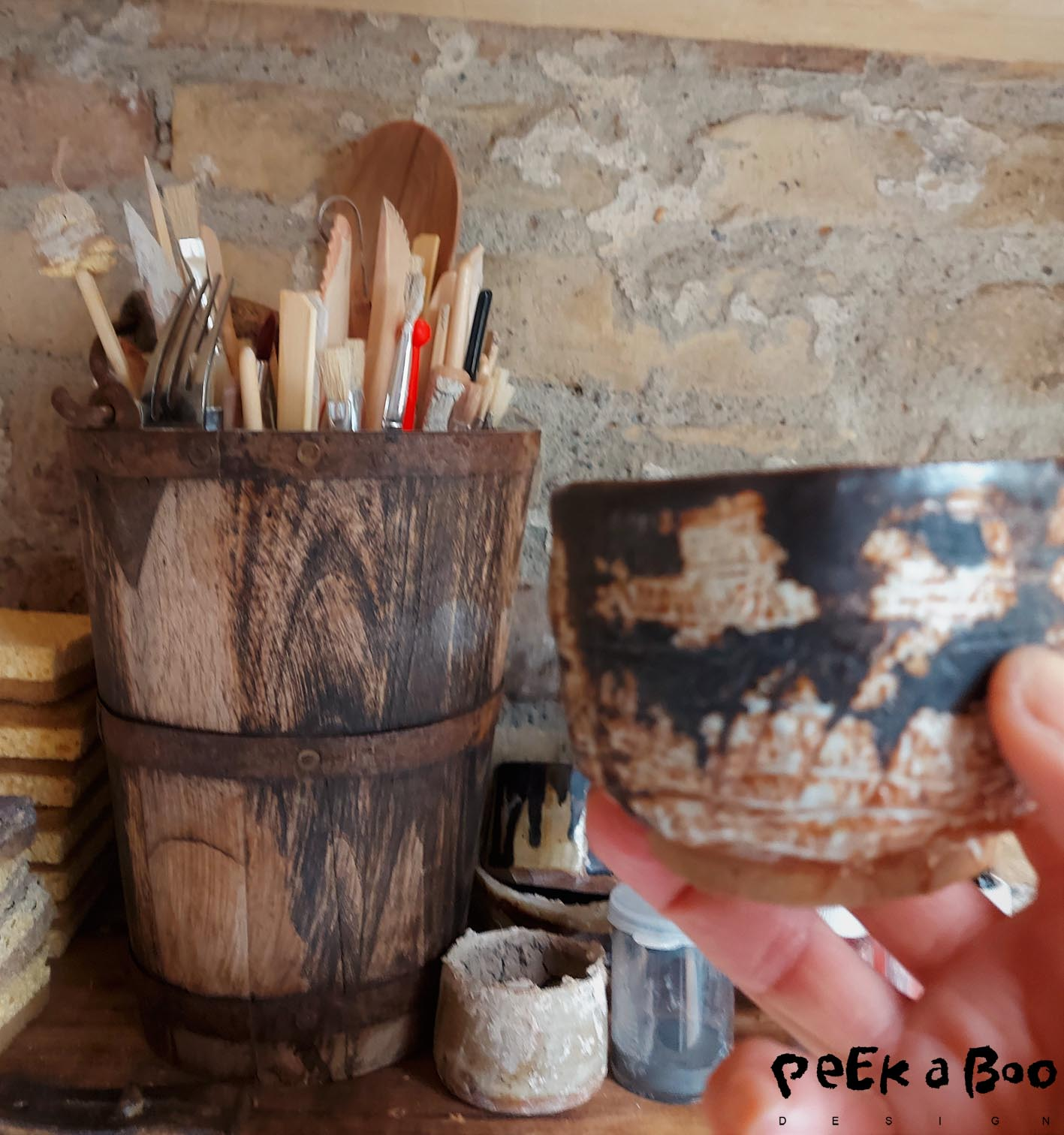 The tools for making the ceramic and my favorite cup.