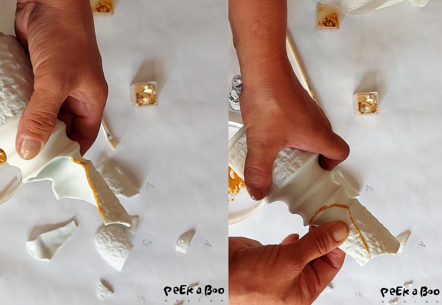 Hold the cut to the vase, the glue dries really quick so after 1 minute it is fixed.