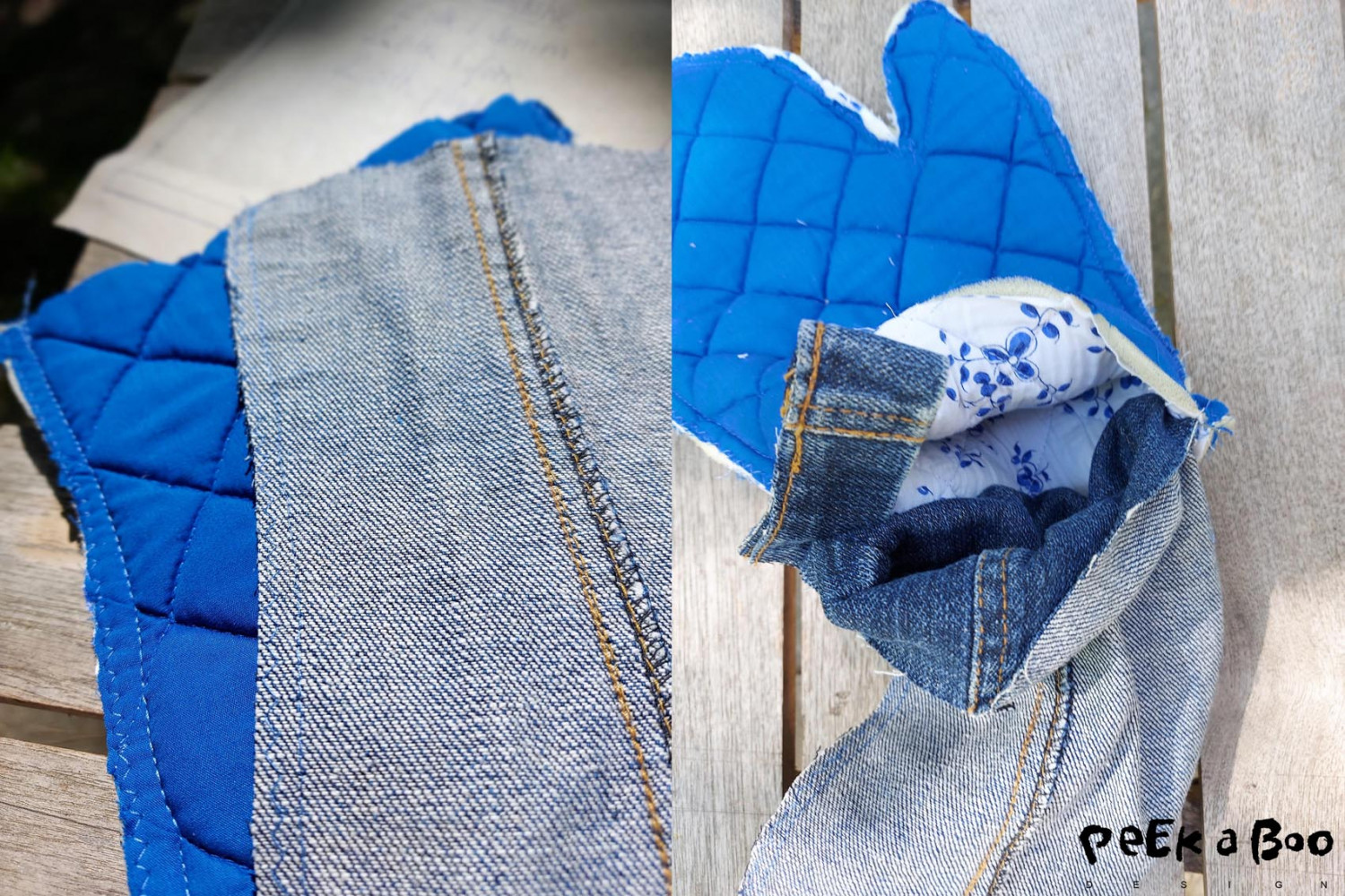Zig-zag round the edges and cut a strap from the bottomedges of the jeans.