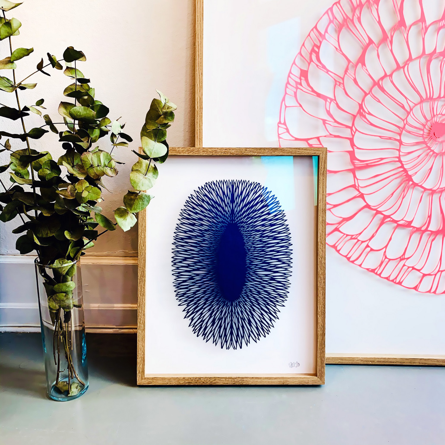 A pink artwork in the series of FOSSIL by Vicki Zoé.
