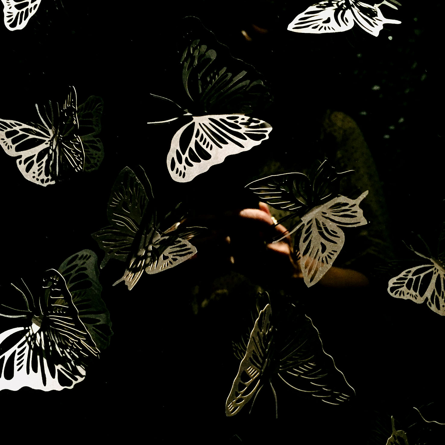 A close-up of the butterflies designed and cut by paper artist Vicki Zoé for the butterfly room at restaurant the alchemist in Copenhagen.