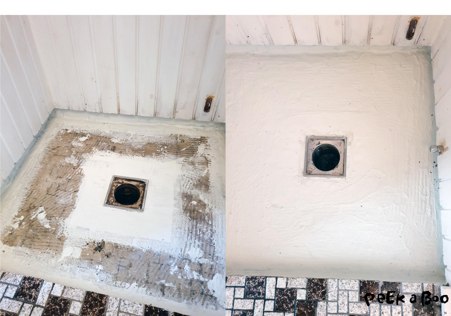 Step 3 Add reinforcement tape around the drain and the edges and corners.. Afterwards you brush the wetroom membrane all over the floor..