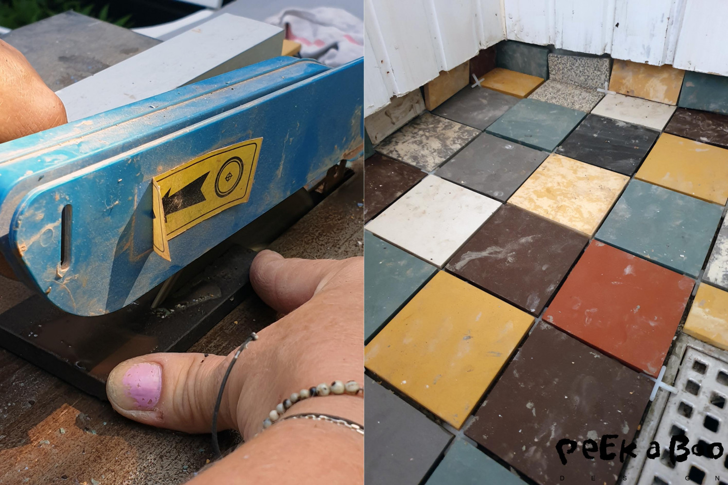 Step 5 Cut the tiles to fit the floor. and place them in the tile adhesive.