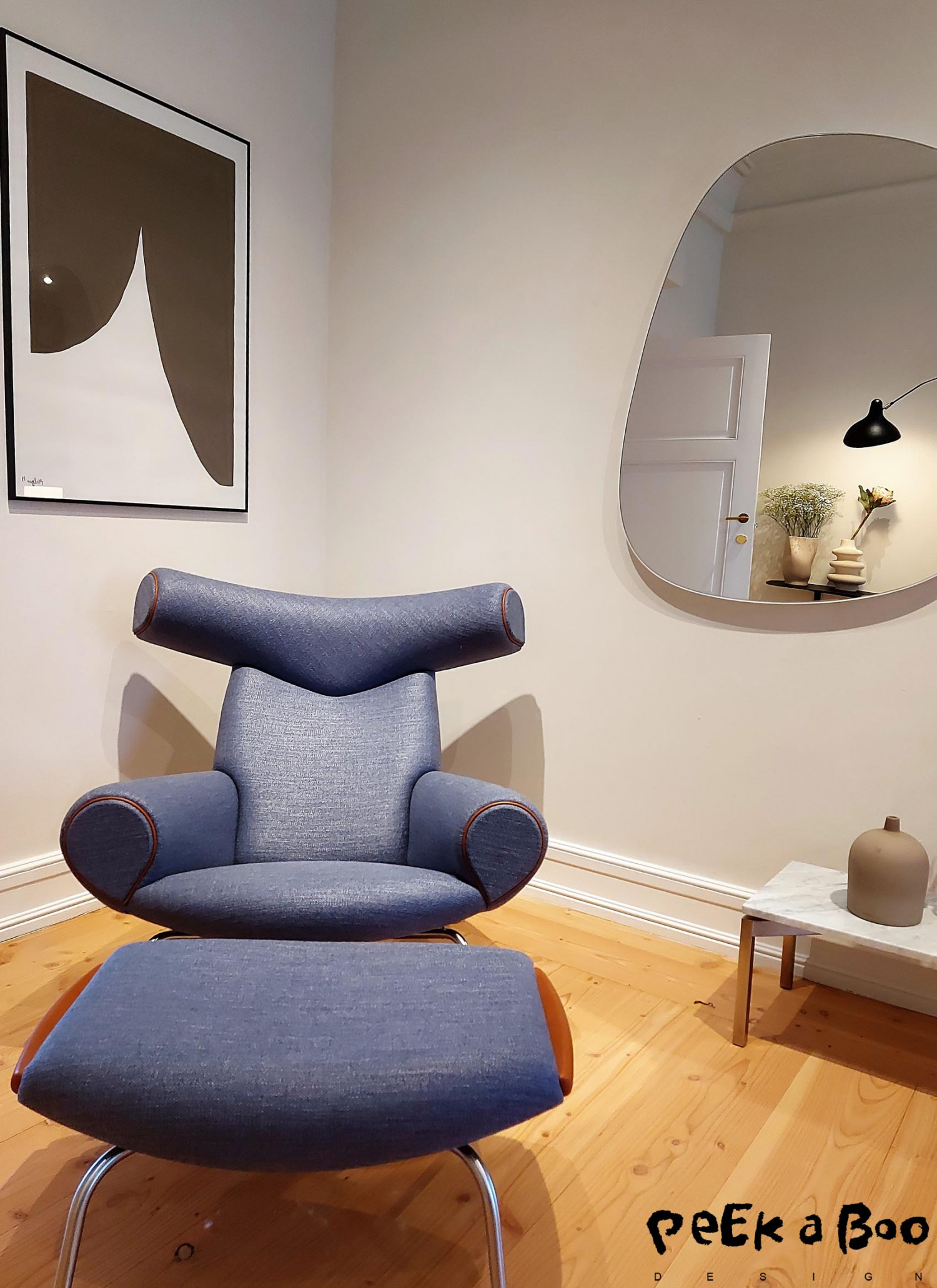 The Ox chair designed by Wegner in a new colour and material combination. Really cool.