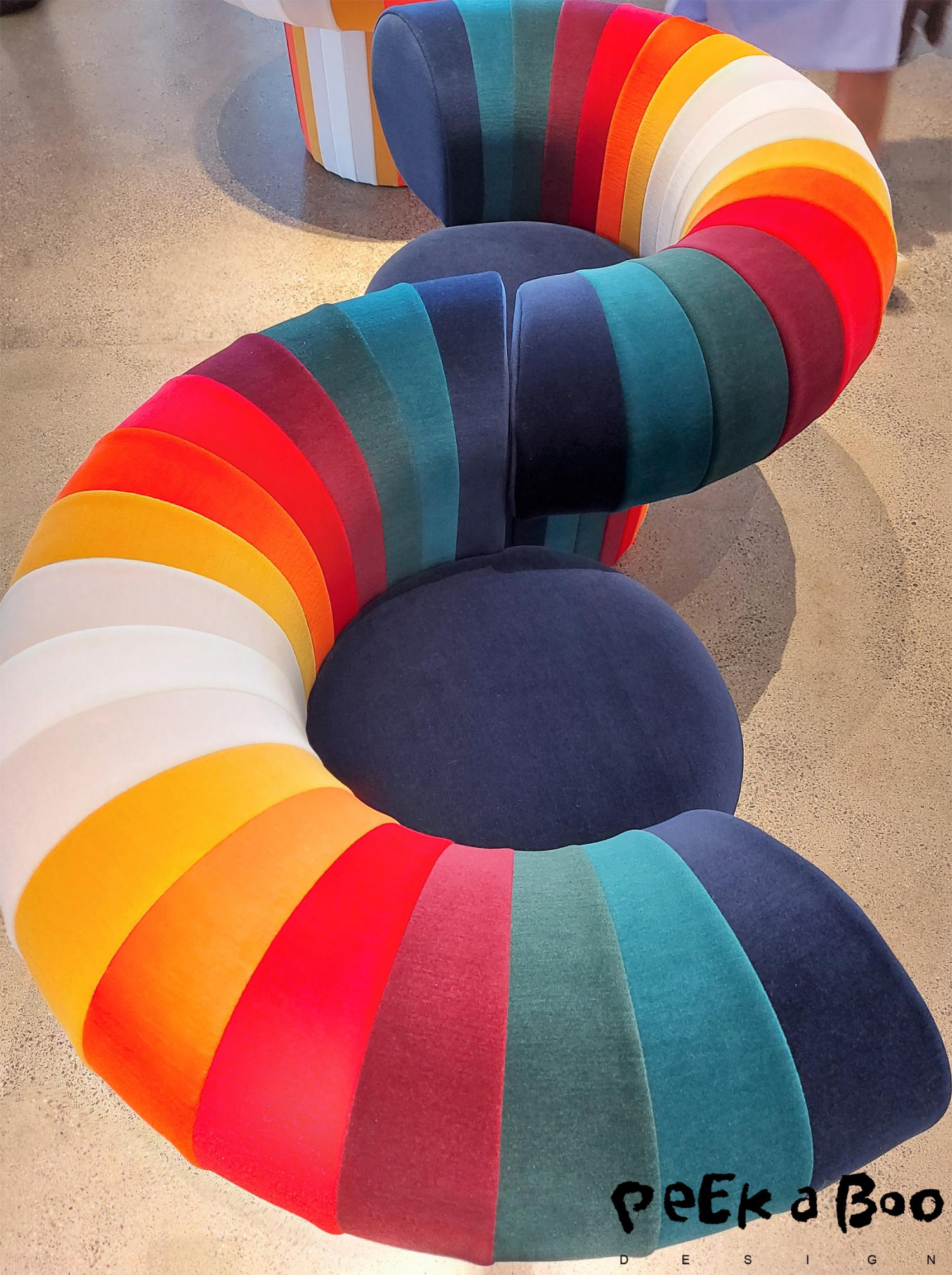 The australian designer adam goodrum module chair in all the colours of the rainbow at the Knit! exhibition at Kvadrat.