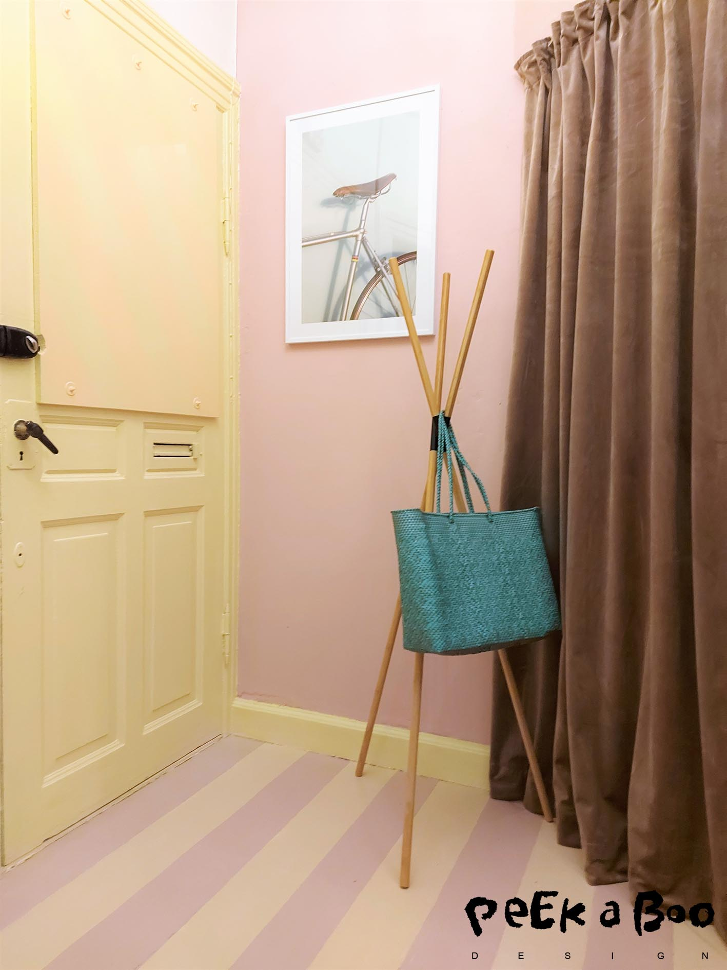 "Last week I painted my hallway in pastel colours, and this poster with the ""vintage bicycle"" is perfect on the pink wall."