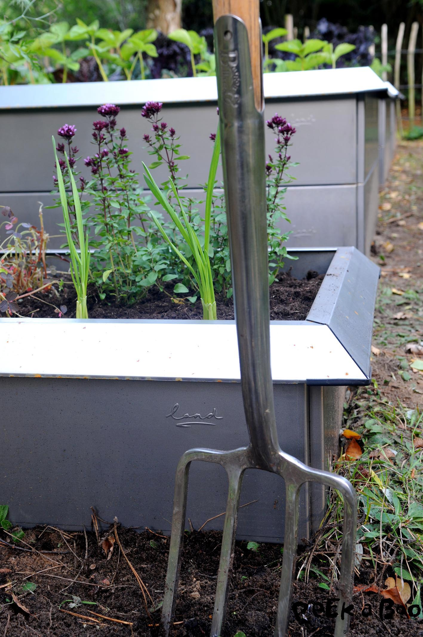 The small raised bed for herbs are essential in a kitchen garden