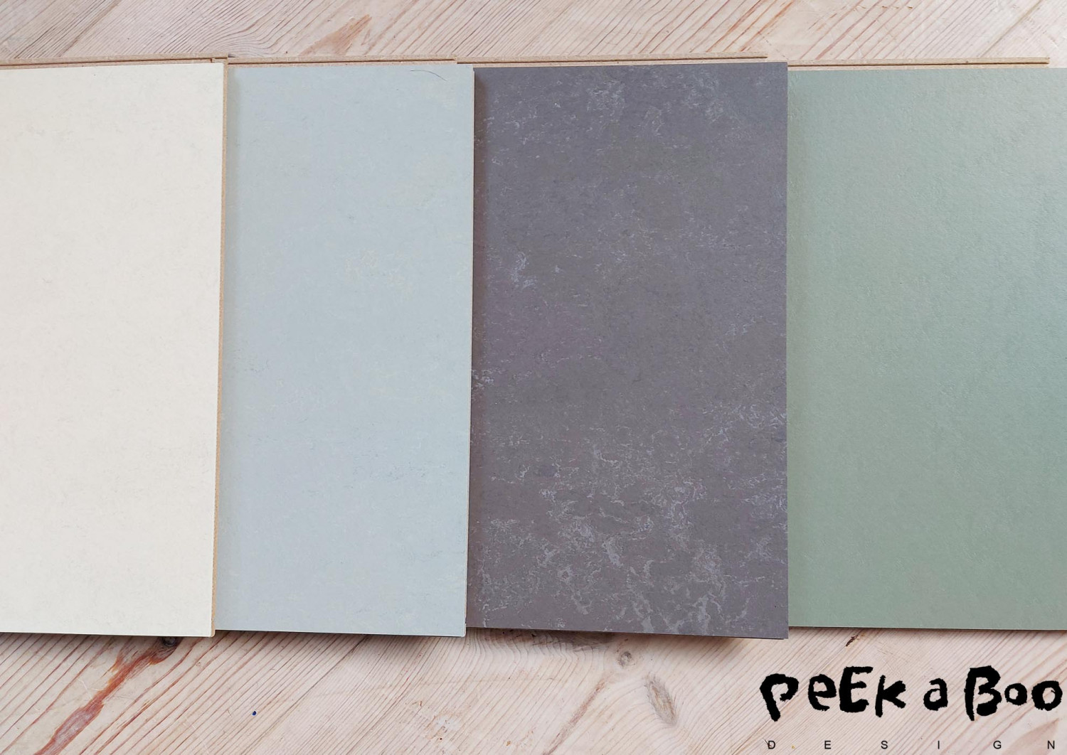 The colours of the Forbo Marmoleum linoleums tiles that we are working with right now. Now things can still change.