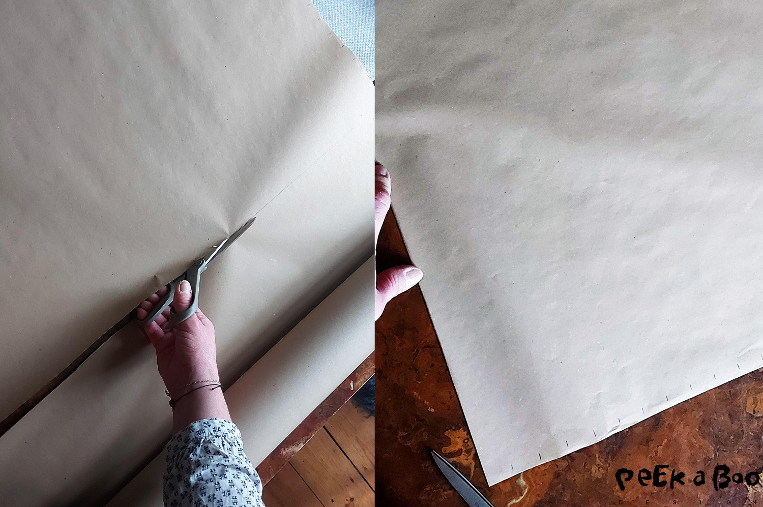 Cut a piece of paper 100 cm x 100 cm. Fold it halfway and mark every 2,5 cm. by the two open and short edges