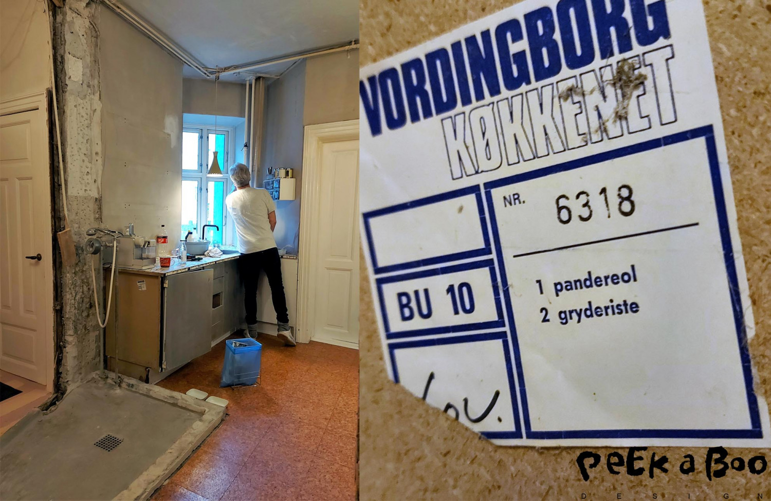 Here you can see a bit of the kitchen before after the walls were torn down and before the cabinets were removed. This was a classic Vordingborg kitchen.