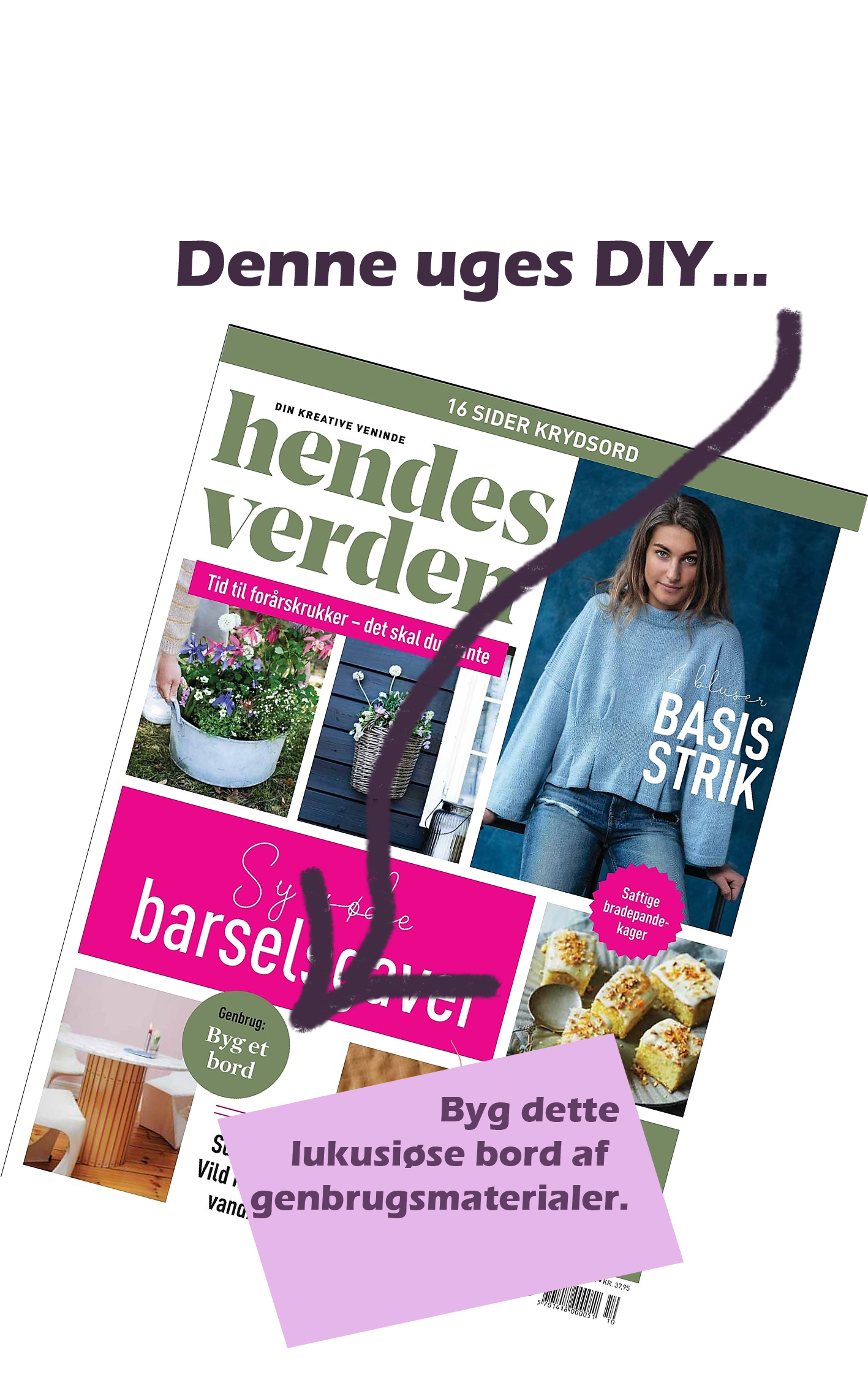 The cover of this weeks Hendes Verden with my DIY on frontpage.