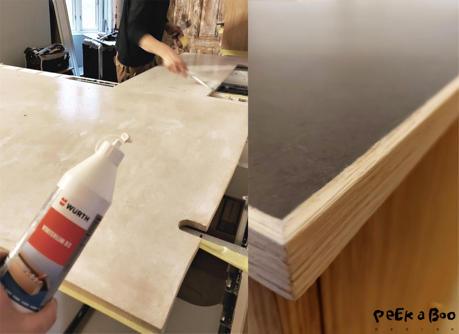 The countertop is in the same colour linoleum as the floor, but the version ment for furnitures.
