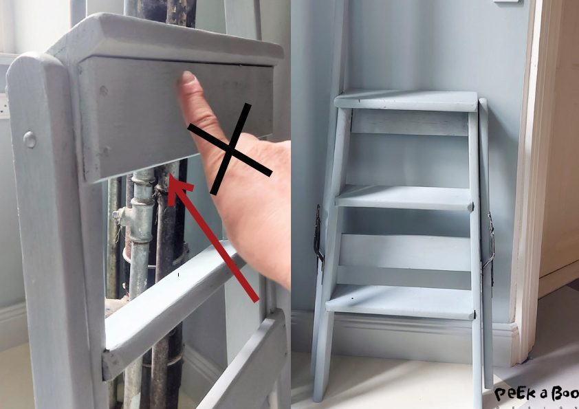 Here you see where I want the handle to hold the ladder on the wall. Not where my finger is but where the arrow points.