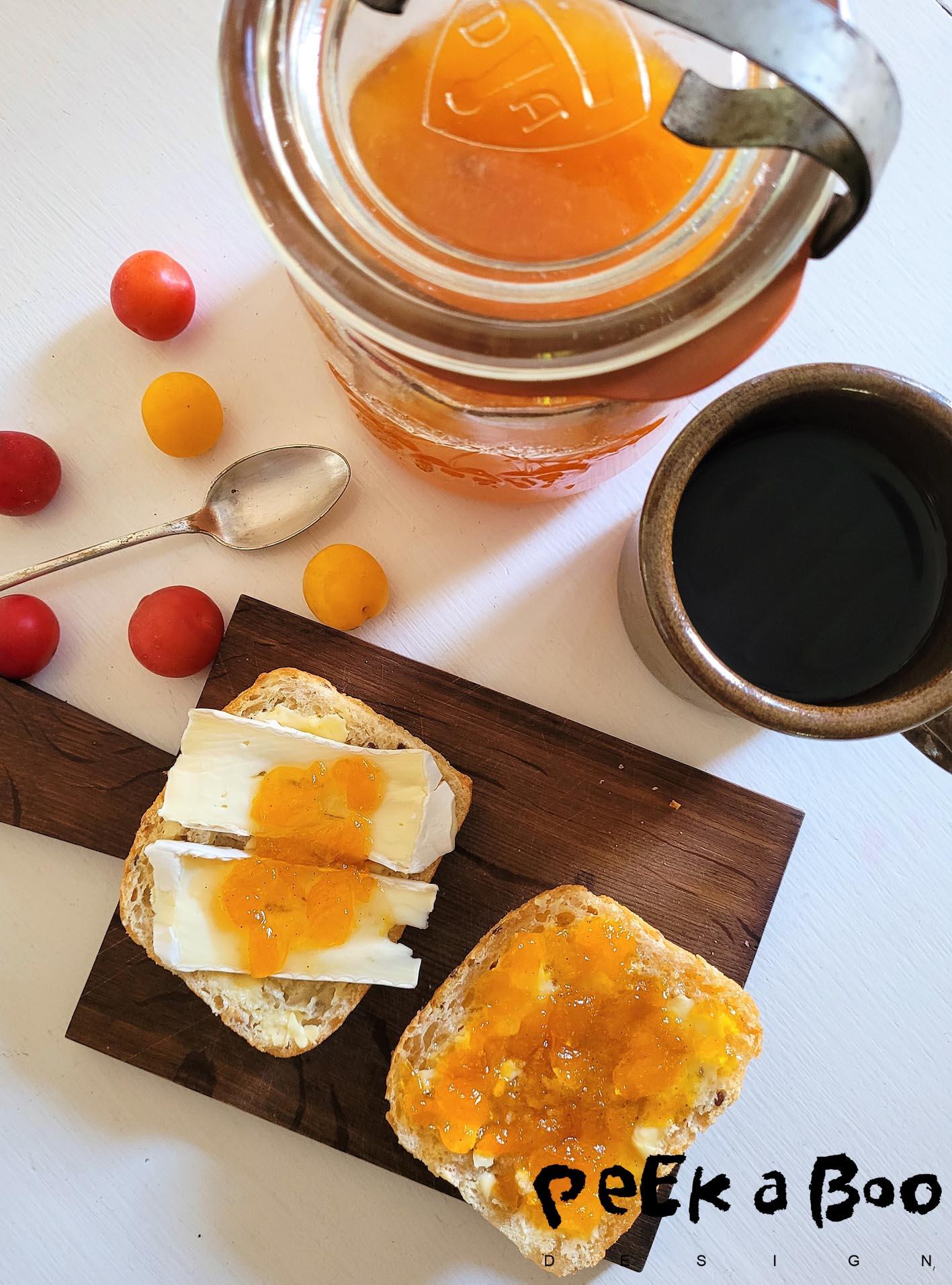 Breakfast with mirabelle jam.