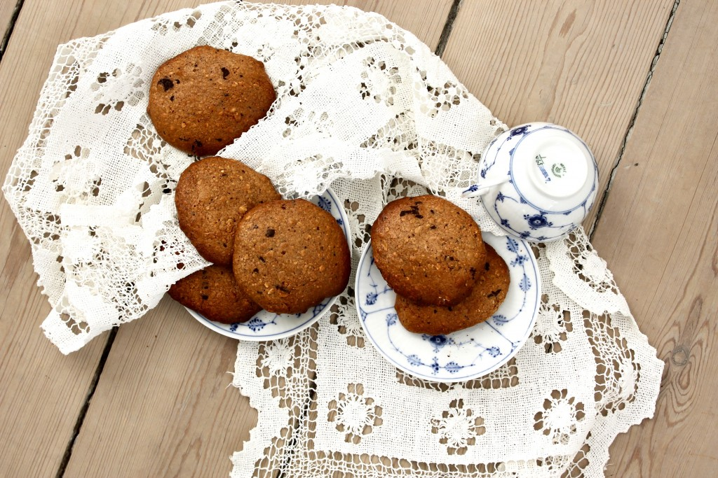 Sukkerfrie sunde havre cookies med chokolade
