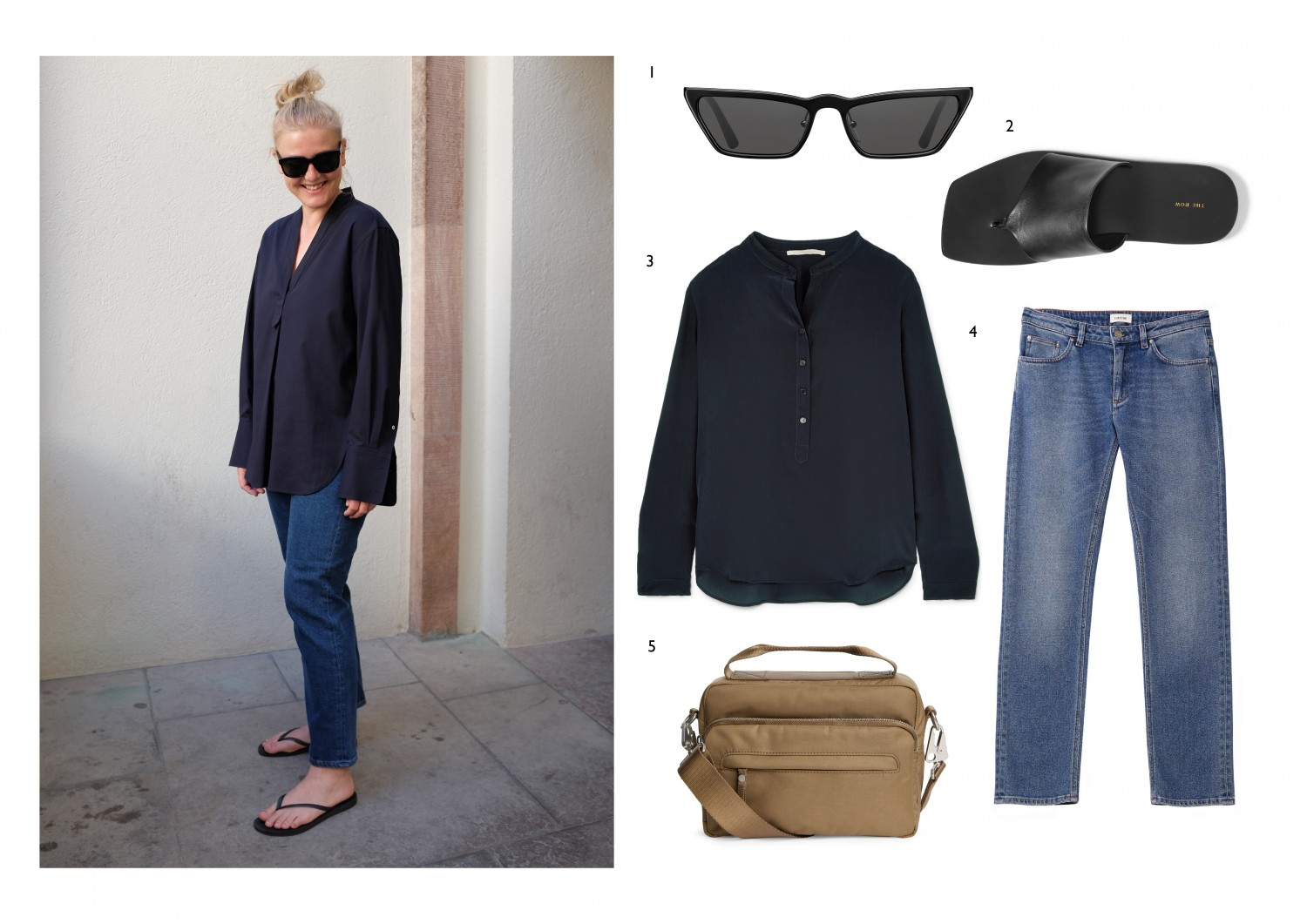 Everyday denim paired with a navy tunic - the perfect match for a warm summer night. Combine with flip flops and sunglasses