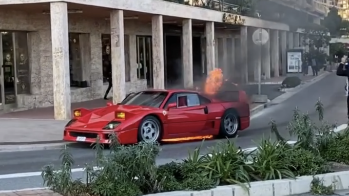 Burning Ferrari F40 in Monaco