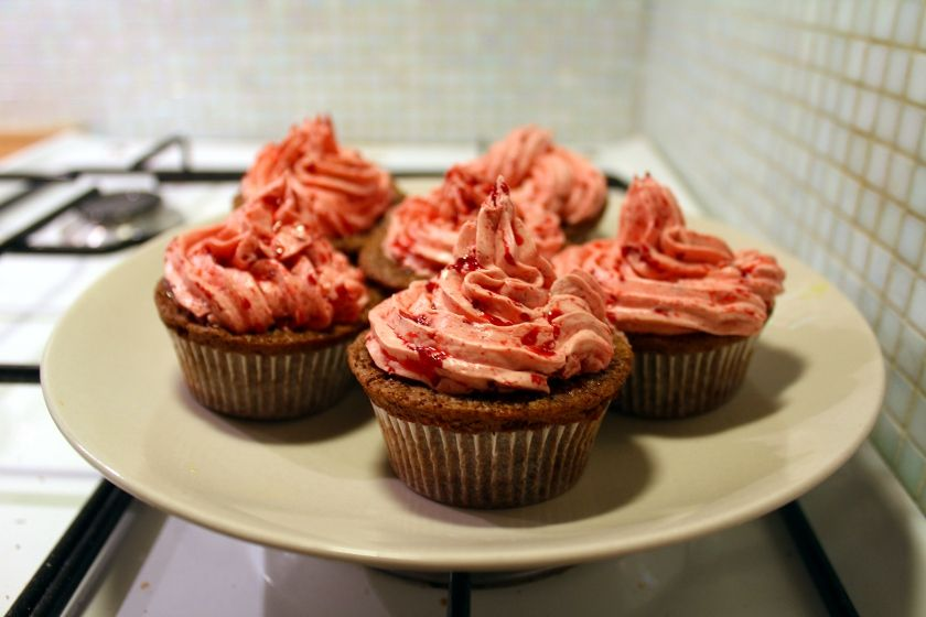 Chocolate Chip Cupcakes w/ Raspberry Frosting