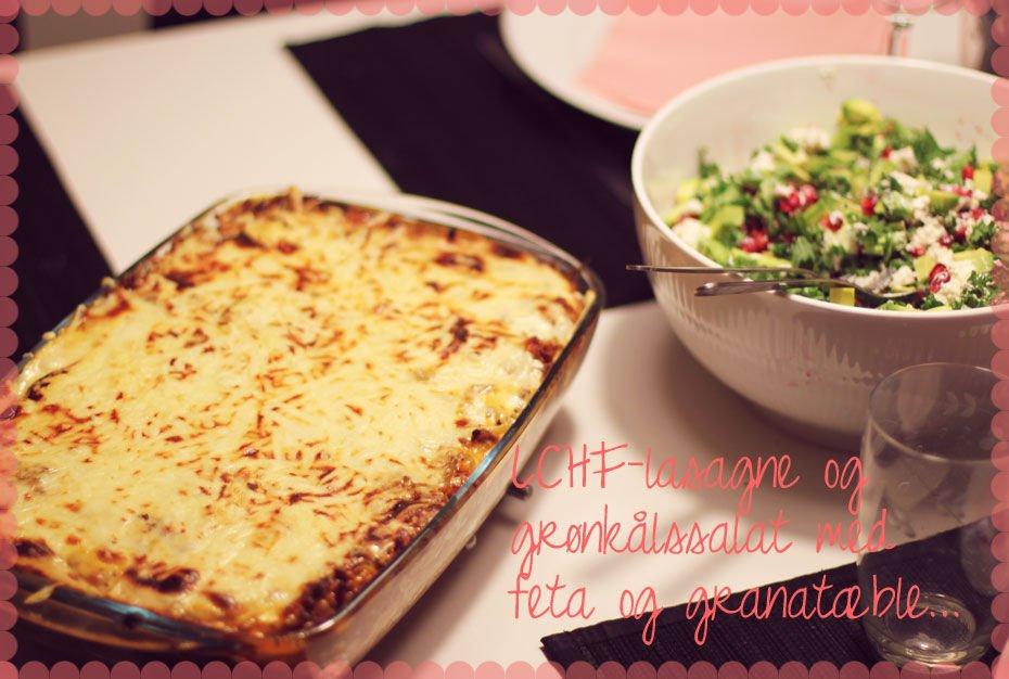 Opskrift // LCHF-lasagne og grønkålssalat med feta, avocado og granatæble