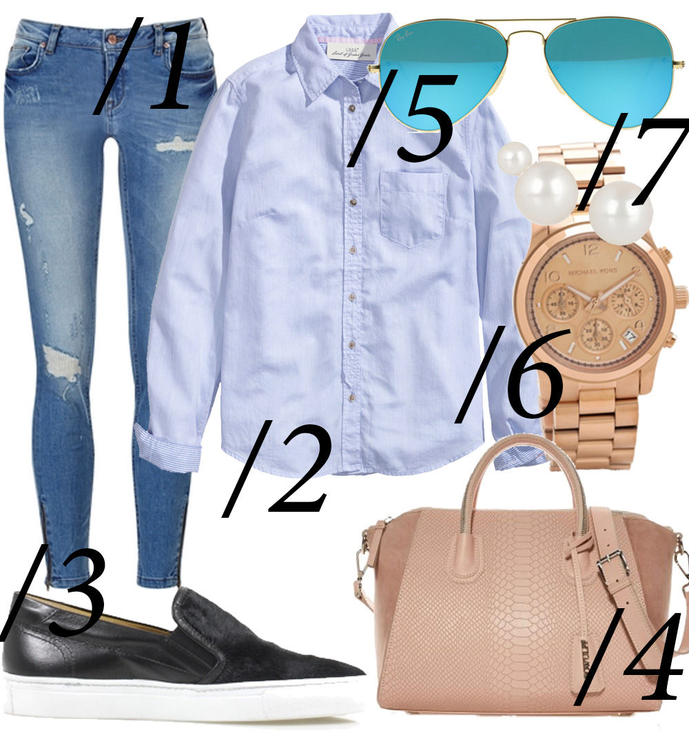 Collage // Blå skjorte, ankler og slip-ons