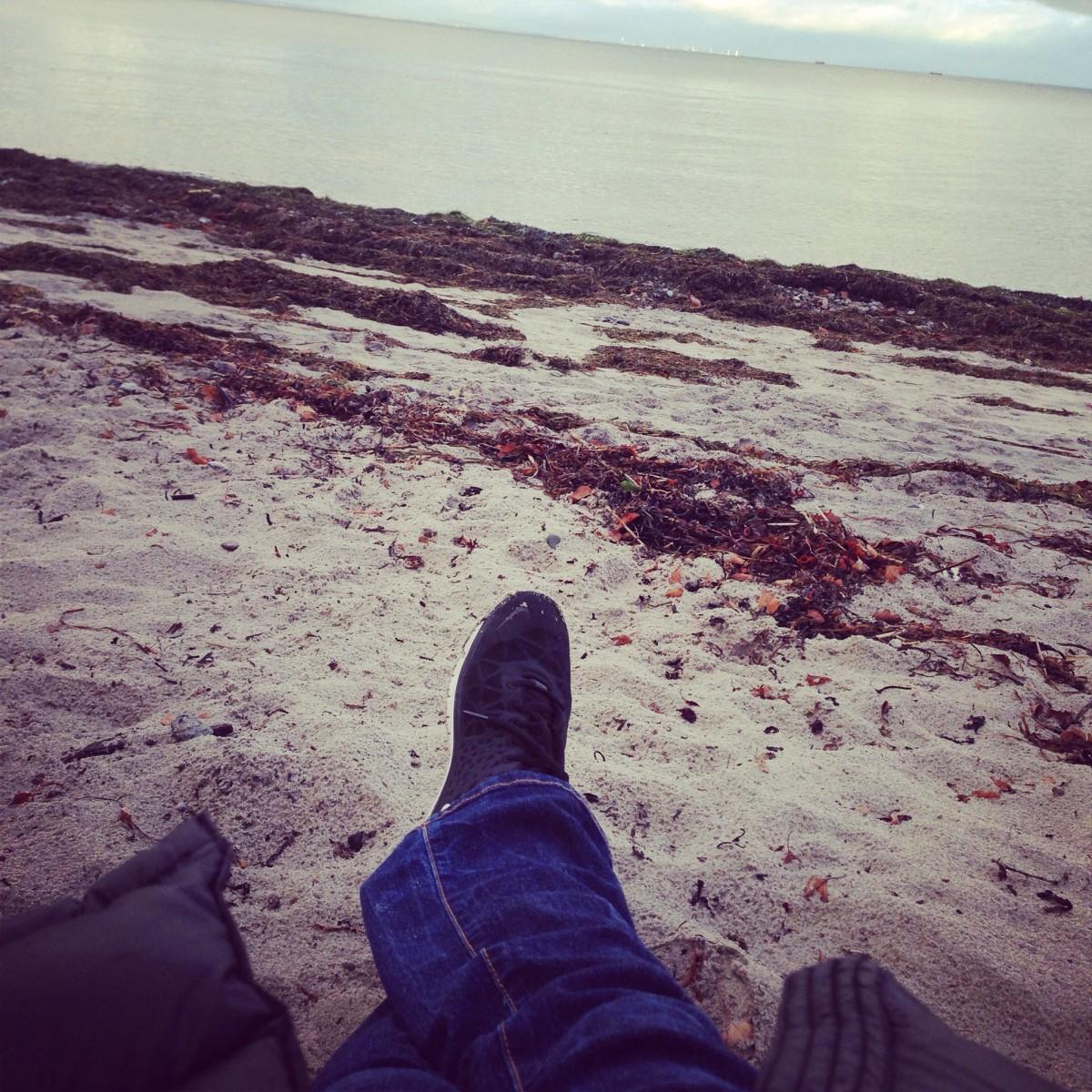 Første gang på vores private strand