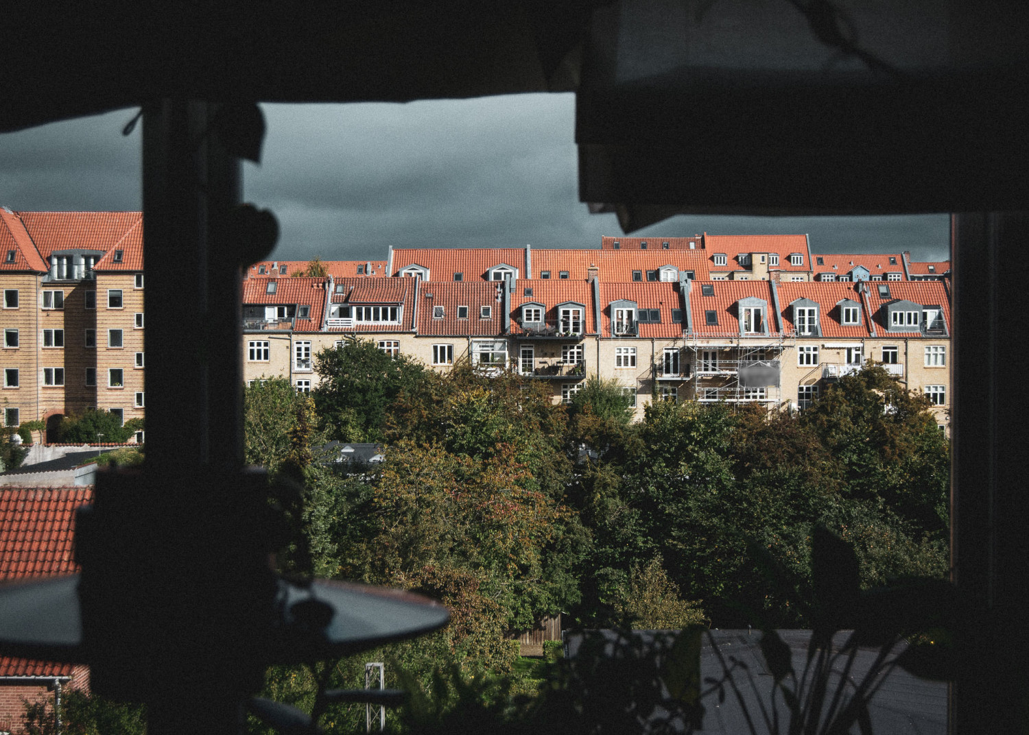udsigt, by, huse, vindue, lejlighed, view, city, houses, window, apartment