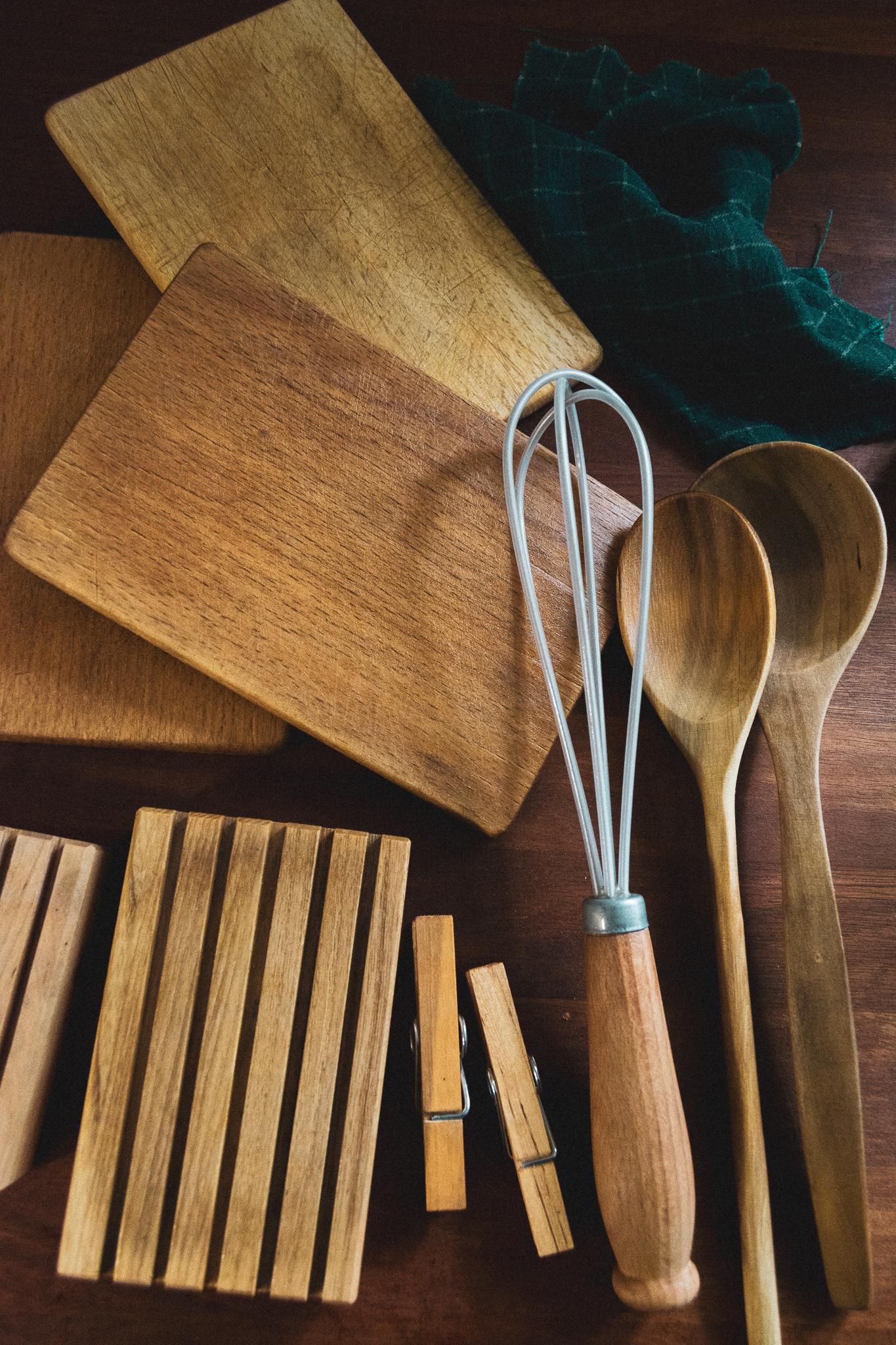 wooden kitchen tools, træredskaber