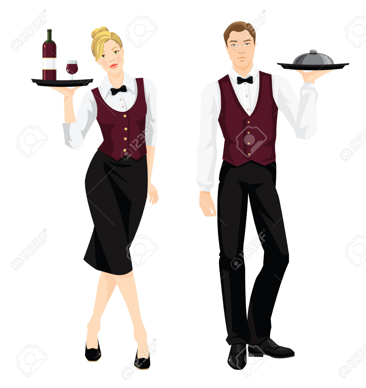 56479312-vector-illustration-of-waiter-and-waitress-in-formal-clothes-isolated-on-white-background-stock-vector