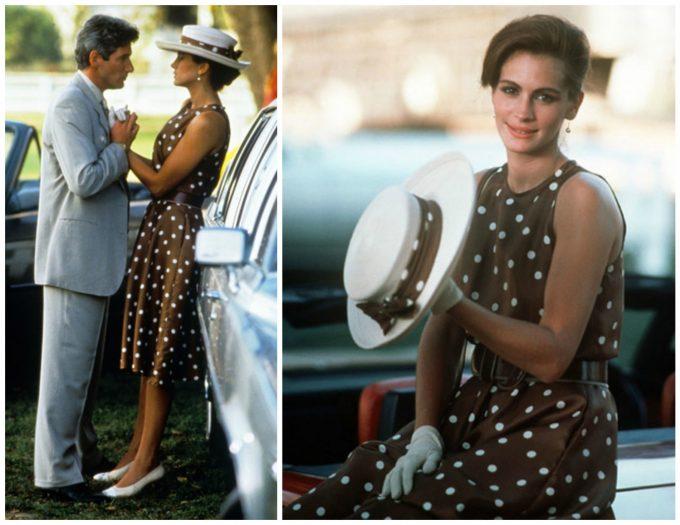 pretty-woman-brown-polka-dot-dress-polo-match