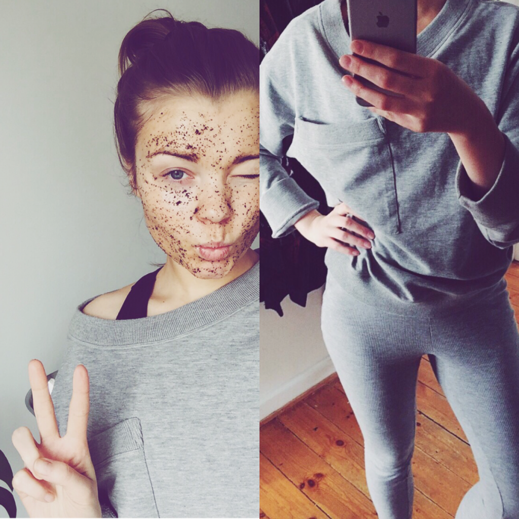 DIY, scrub, facial, organic, do-it-yourself, zero waste, coffee grounds, olive oil, lemon, squeeze, soft skin, exfoliate, økologi, gør det selv, ansigtsbehandling, simply beauty, simply fit