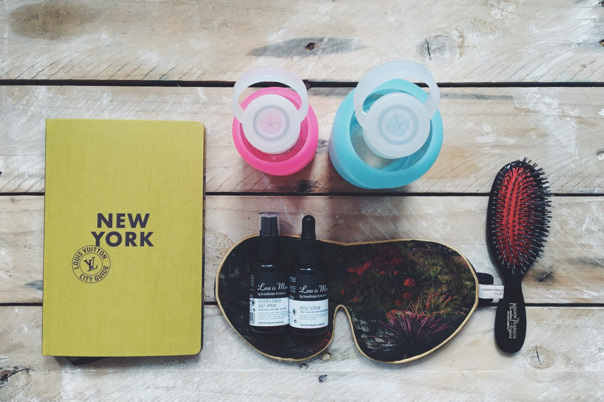 traveling, must-haves, plane, arrival, new york, fashion, fab, sleeping mask, mybkr, bkr bottle, water, stayhydrated, maison pearson brush, miracle brush, hair care, lss is more, rose serum, organic, zero waste, simply fit, reuse, simply travel, how to, survive, airplane, dry skin, costume, beauty guide