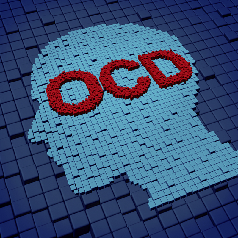 Obsessive compulsive disorder or OCD medical concept as a human head and letters made of organized three dimensional cubes as a symbol of the anxiety symptoms of obsessions and compulsive behavior caused by psychological issues of nervouse repetitive rituals.
