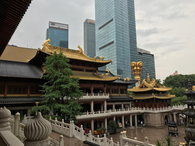Det guldbelagte tag på Jing'An Temple