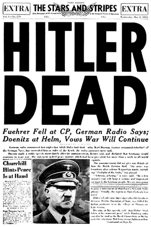 Forside fra Stars & Stripes, 30. April 1945