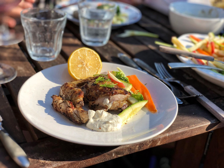 Grillet, marineret kylling