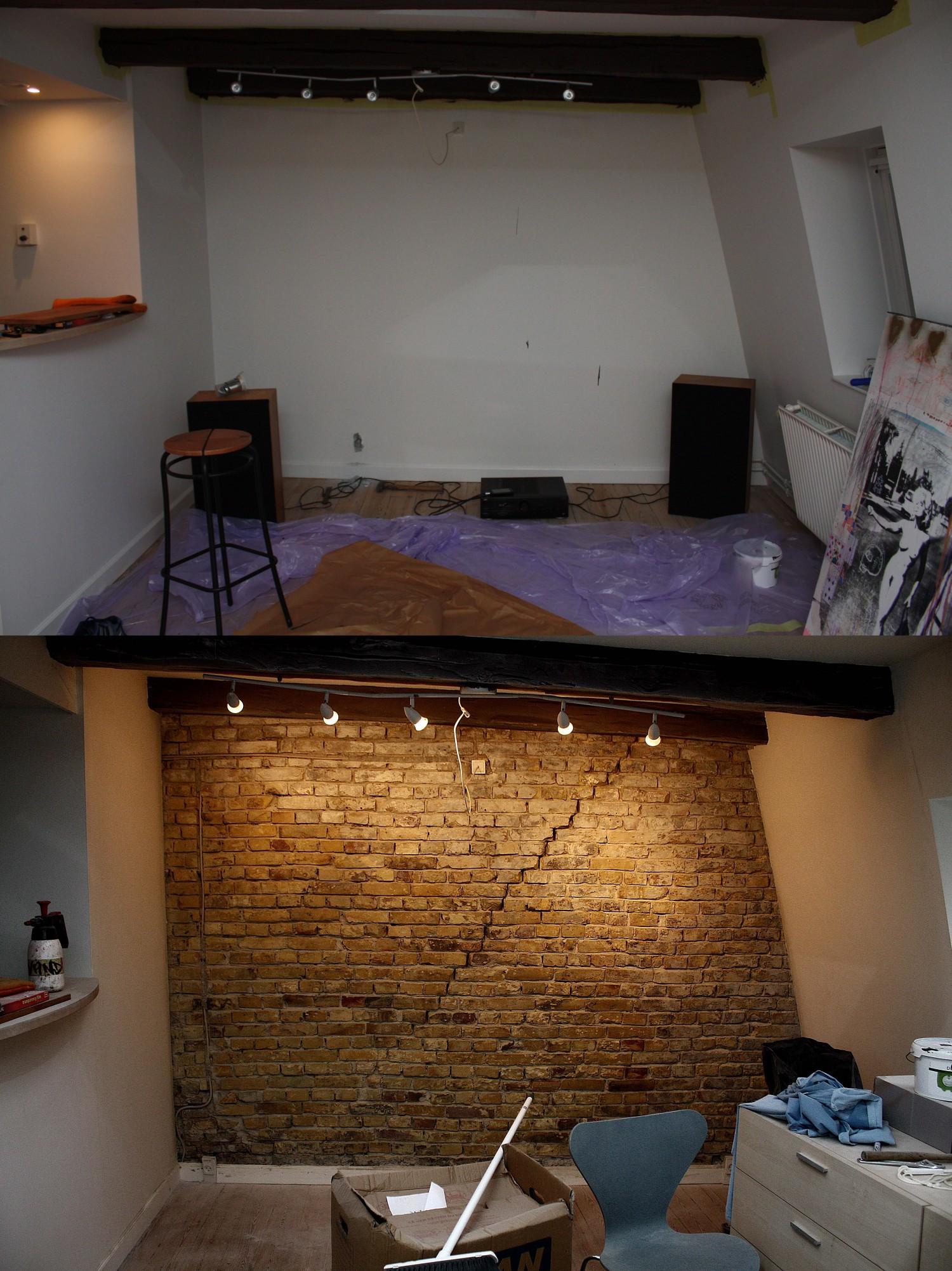 Før- og efterbillede af murstensvæggen.