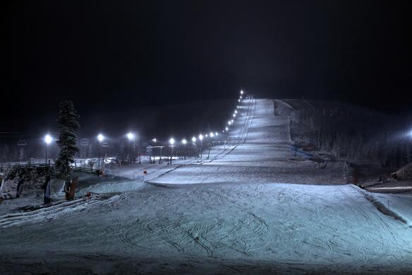 Stöten lysløjpe aften udsigt restaurant Brasseriet Ski Hotel Stöten