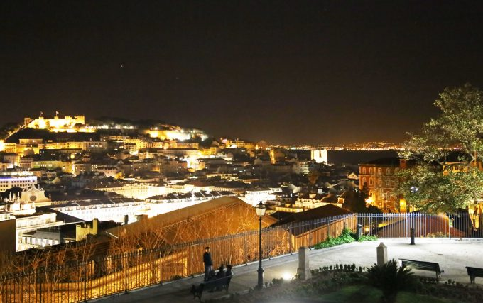 Lisboa view night with fortress