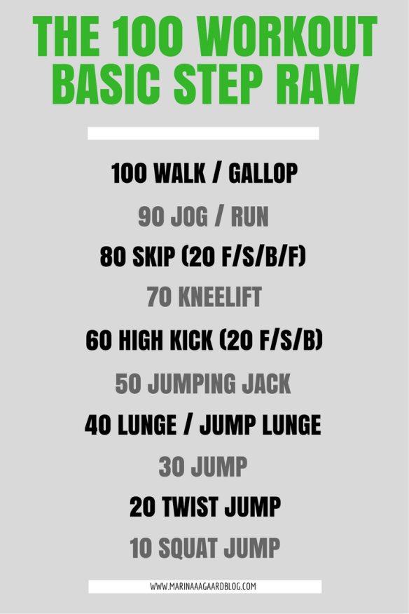 100 workout basic step raw fitness Marina Aagaard blog