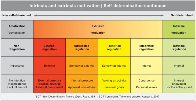 Intrinsic extrinsic motivation SDT continuum Marina Aagaard blog