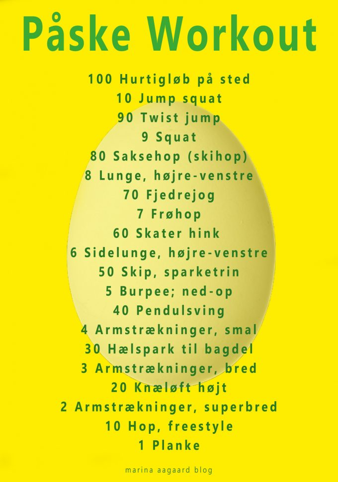 100 plus 10 workout påske æg Marina Aagaard blog fitness