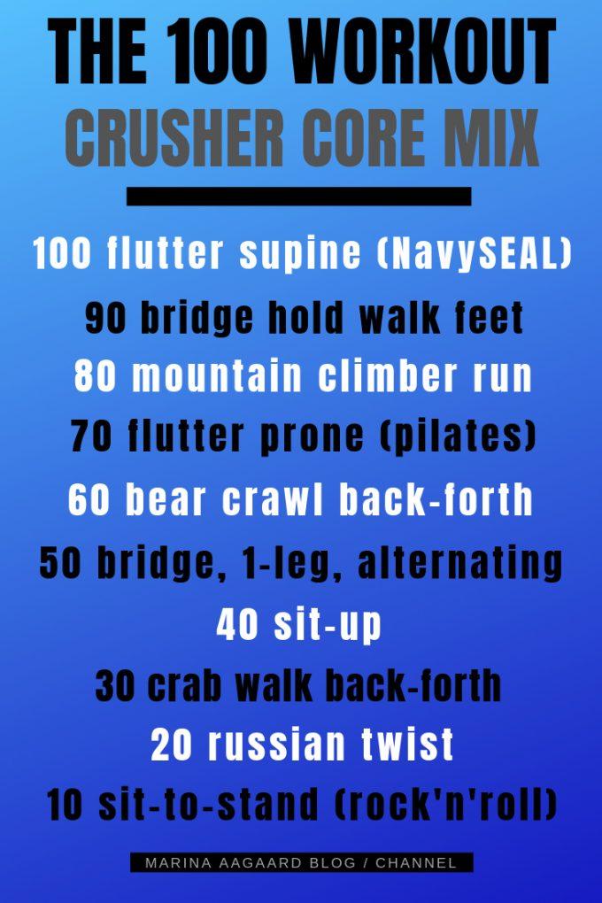 100 workout core mix exercises Marina Aagaard blog fitness