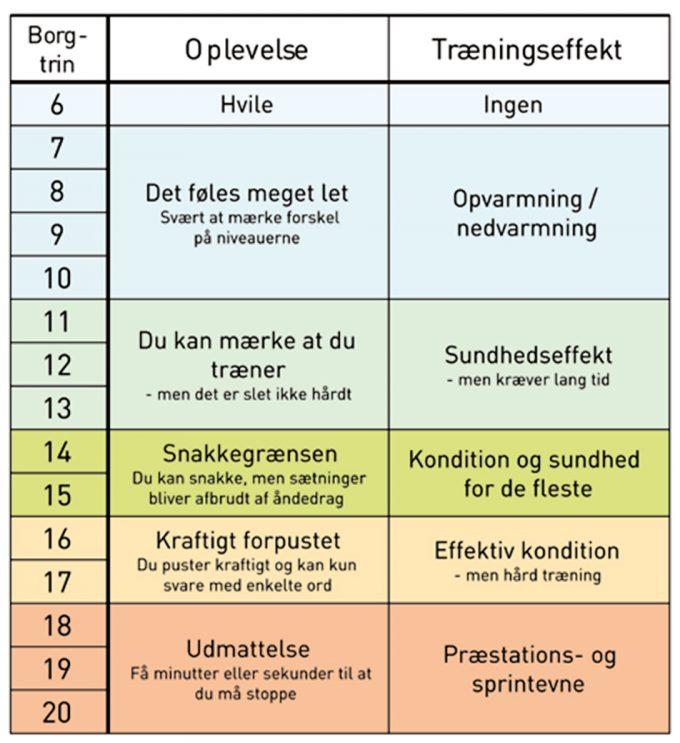 Borg-skala med oplevelse af træningsintensitet og træningseffekt Morten Zacho