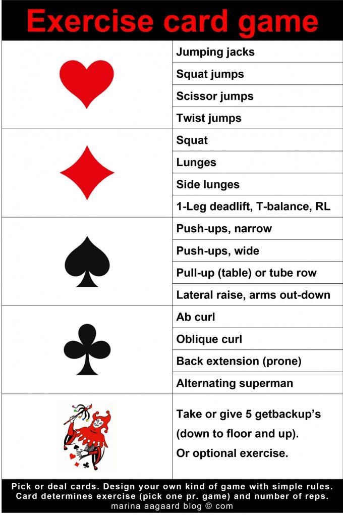 Exercise card game Marina Aagaard blog fitness