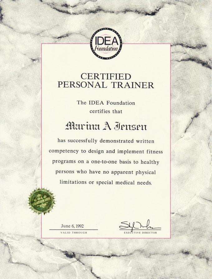 Personlig træner diplom IDEA ACE Marina Aagaard blog fitness