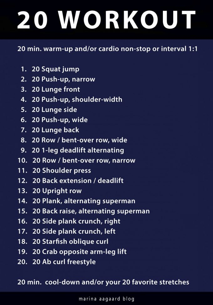 20 Workout 20 exercises 20 reps Marina Aagaard blog fitness