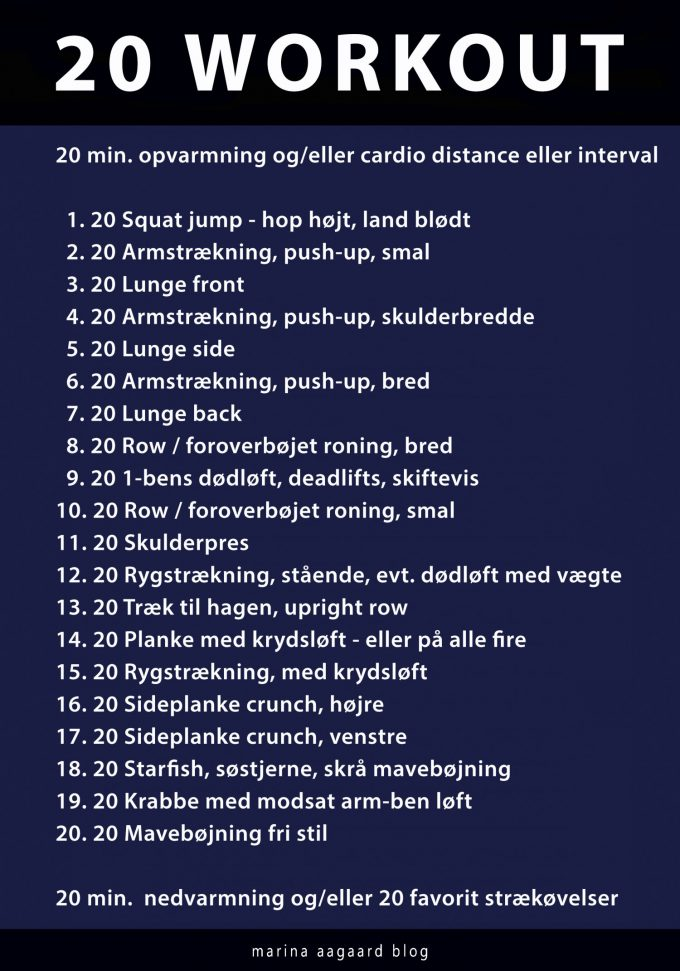 20 Workout 20 exercises 20 repetitions Marina Aagaard blog fitness