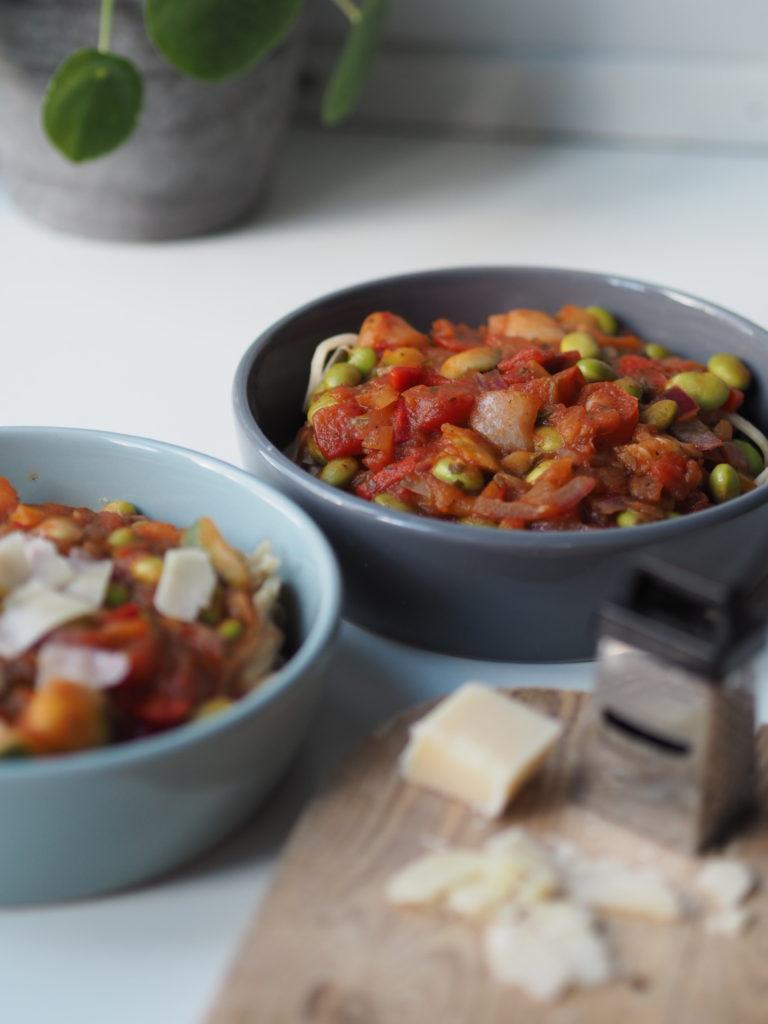 Linguine med grøntsagssauce