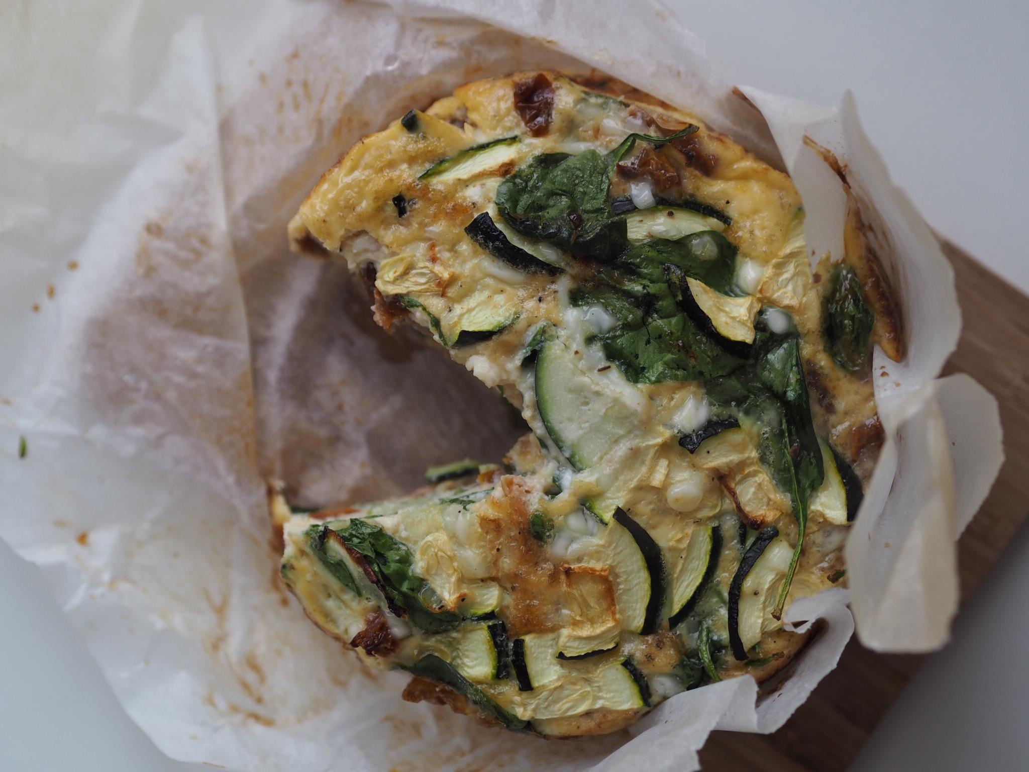 Æggekage med spinat, squash og soltørret tomater