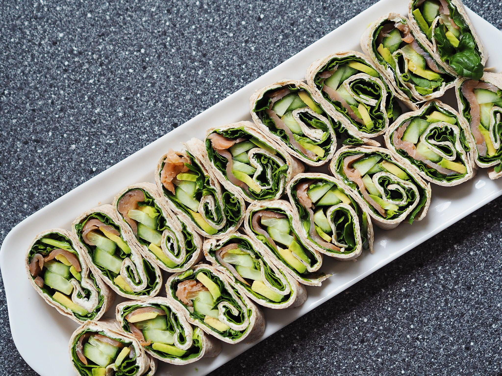 Grønne lakseruller med avokado